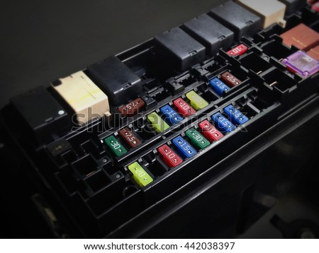 stock photo focus of car fuse box in low key light control engine lighting of car 442038397 fuse box stock images, royalty free images & vectors shutterstock modular fuse blocks at gsmx.co