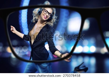 Focus on beautiful blond lady  - stock photo