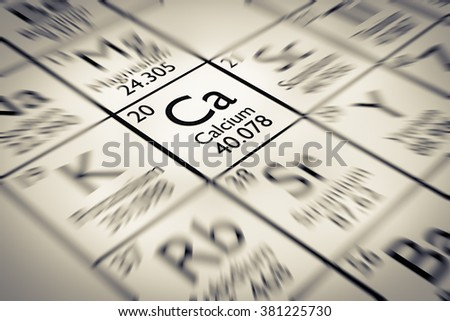Focus on Calcium Chemical Element from the Mendeleev periodic table - stock photo