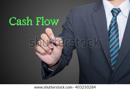 Focus on cash flow and audit of accounts concept. Businessman (auditor) analyze cash flow. Wide banner composition with bokeh in background. - stock photo