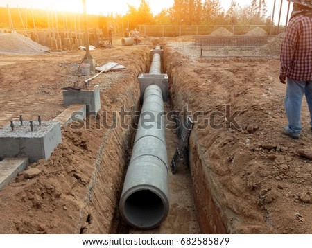 Focus on concrete pipes and drain pipes at high voltage stations in large power plants & Focus On Concrete Pipes Drain Pipes Stock Photo (Royalty Free ...