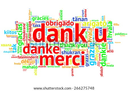 Focus on Dutch: Dank u. Word cloud in open form on white Background. saying thanks in multiple languages. - stock photo