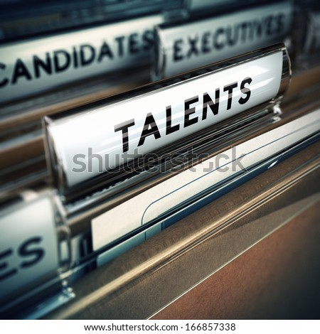 Focus on folder tab with the word talent, realistic 3D render with blur effect, concept for recruitment agency - stock photo