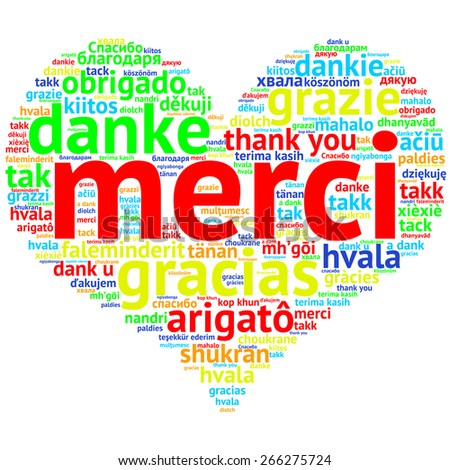 Focus on French: Merci. Word cloud in heart shape on white Background. saying thanks in multiple languages. - stock photo