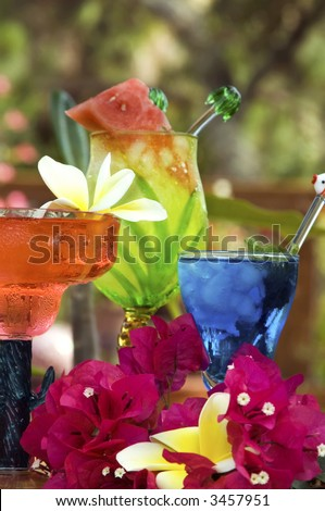 Focus on front 2 drinks.  Colorful tropical drinks, homemade conconcoctions of great rum ,tequila, vodka and other mixers - stock photo