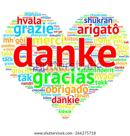 focus on German: Danke. Word cloud in heart shape on white Background. saying thanks in multiple languages. - stock photo