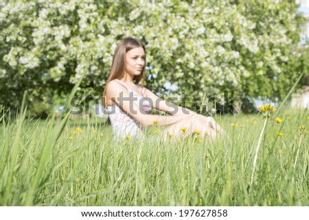Focus on grass Full length portrait of beautiful young woman lying on a meadow against white flower on apple tree Cute slim girl in gray dress looking up and enjoying Copy space for inscription - stock photo
