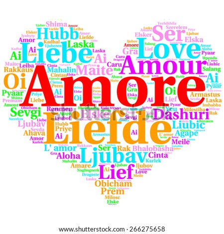 Focus on Italian: Amore. Word cloud in heart shape on white Background. saying thanks in multiple languages.