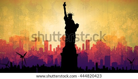 Focus on liberty statue against artistic cityscape design