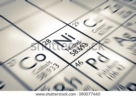 Focus on Nickel Chemical Element from the Mendeleev periodic table - stock photo