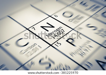Focus on Nitrogen Chemical Element from the Mendeleev periodic table - stock photo