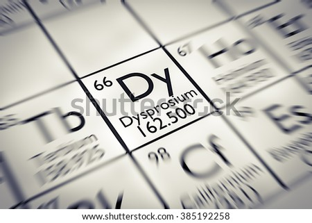 Focus on rare earth Dysprosium chemical element