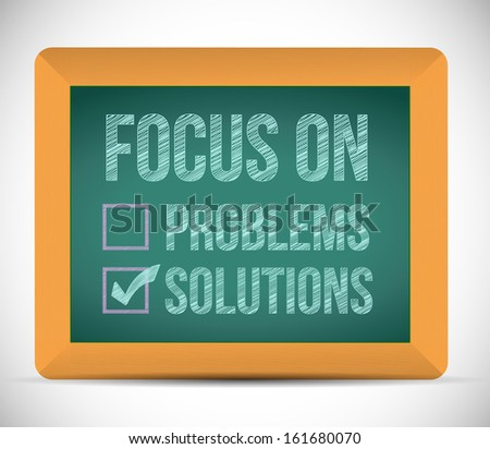 focus on solutions check mark illustration design over a board - stock photo