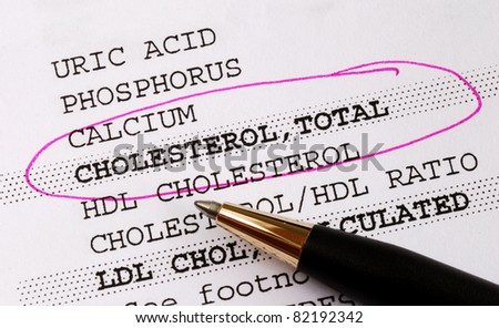 Focus on the cholesterol in a blood test report concept of better health - stock photo