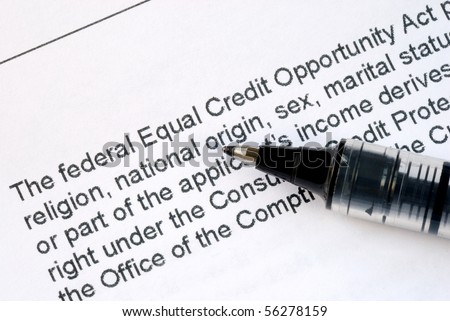 Focus on the details about the Federal Equal Credit Opportunity Act - stock photo