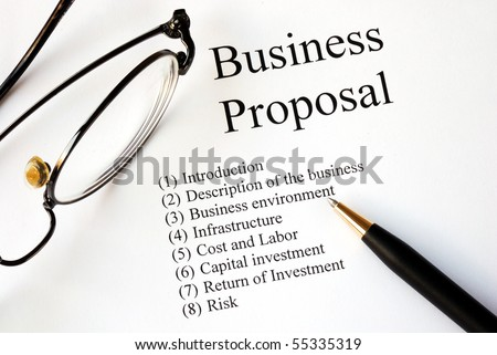 Focus on the main topics of a business proposal - stock photo