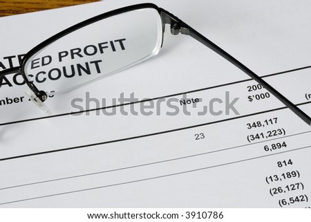 Focus on the profit statement of a financial report