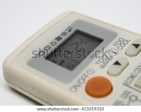focus The numbers tell the temperature on the air conditioner remote control soft blur