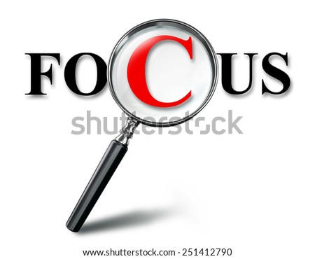focus word concept with magnifying glass on white background. clipping path included - stock photo