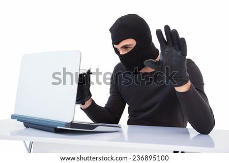 Focused burglar hacking into laptop on white background - stock photo
