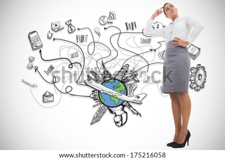 Focused businesswoman against global business illustration - stock photo