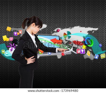 Focused businesswoman pointing against silver world map over dots - stock photo
