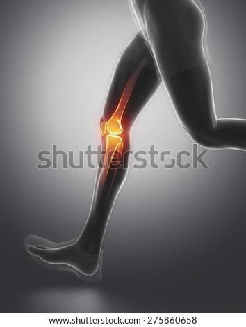FOcused on knee - stock photo