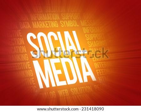 Focused Words SOCIAL MEDIA, related keywords concept, presentation background - stock photo