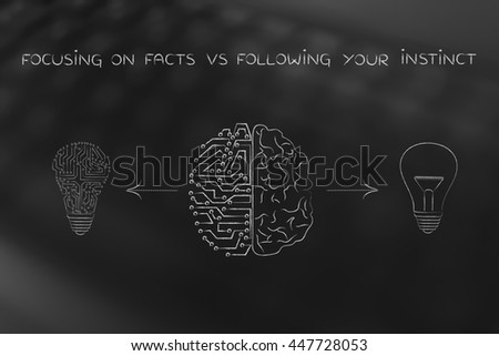 focusing on facts vs following your instincts: human and artificial brain producing different types of ideas (lightbulb symbol and circuit version)