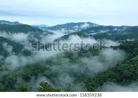 fog and cloud mountain under mist  the morning in north chaingrai,north Thailand - stock photo