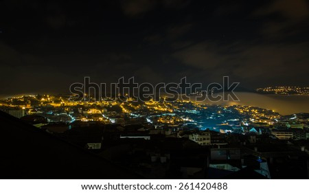 Fog and clouds in night Quito