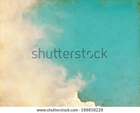 Fog and clouds on a vintage paper background.  Image displays a distinct paper grain and grunge textures at 100 percent. - stock photo