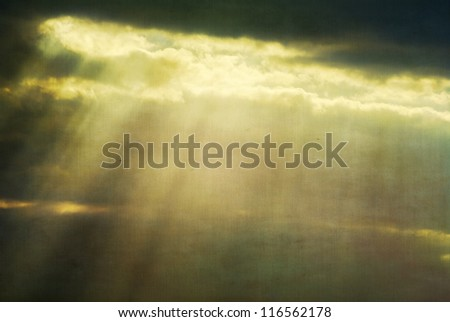 Fog and clouds with streaks of light and yellow-green retro colors - stock photo