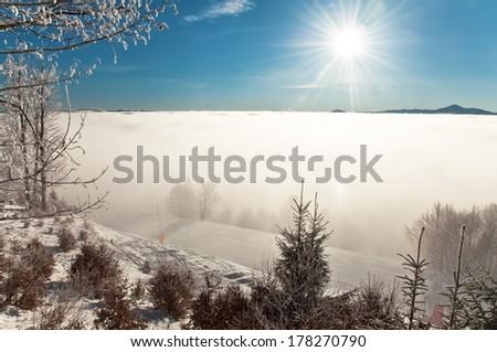 fog at a ski resort - stock photo