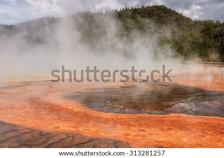 Fog at Grand Prismatic Spring in Yellowstone National Park