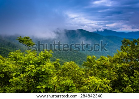 Fog in the Blue Ridge, seen from the Miller's Head Trail in Shenandoah National Park, Virginia. - stock photo