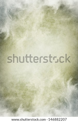 Fog, mist, and clouds with subtle gray and green tones.  Image has significant paper texture and grain patterns visible at 100 percent.