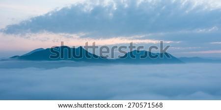 Fog Mountain in Thailand - stock photo