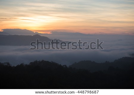 Fog mountain in the early morning sunrise
