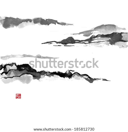 Fog mountains, hand-drawn with ink in traditional Japanese style sumi-e.  - stock photo
