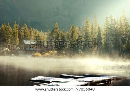 fog on lake - stock photo