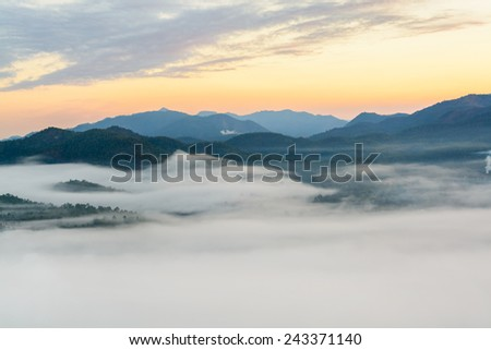 Fog on the mountain at sunset