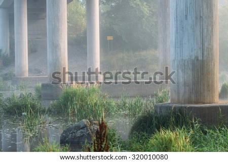 fog on the river, soft focus - stock photo