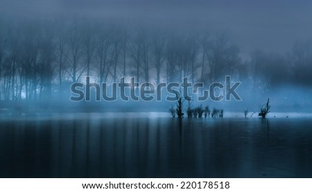 Fog over the pond, autumn landscape in the morning. - stock photo
