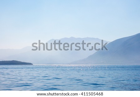 Fog sea view from yacht in the Aegean sea - stock photo