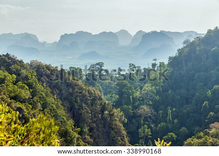 fog top jungle landscape tropical - stock photo