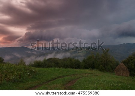 Foggy and rainy evening of summer, on wild transylvania hills. Holbav. Romania. Low key, dark background, spot lighting, and rich Old Masters