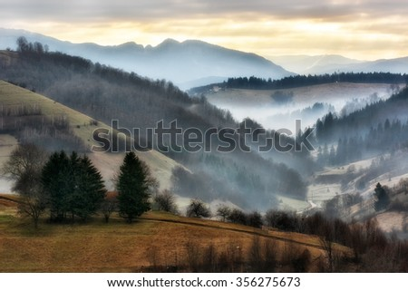 Foggy and sunny day of a autumn, on wild transylvania hills. Holbav. Romania. Low key, dark background, spot lighting, and rich Old Masters