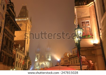 Foggy autumn night on the streets of Prague old town, Czech Republic - stock photo