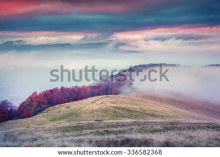 Foggy autumn sunrise in the Carpathian mountain. Tarantyn ridge, Ukraine, Europe - stock photo